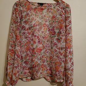 Sheer floral open back blouse
